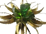 Vintage metal sculpture resin flowers