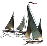 Jere boats Vintage metal sculpture sailboats