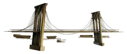 curtis c jere vintage metal wall sculpture large brooklyn bridge sculpture