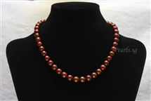 Pearl Necklace - Brown 9 mm