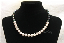 Pearl Necklace - Black & White Half - 9 mm