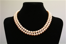 Necklace - Double Strand Pink 7 mm