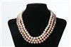 Triple Necklace - 3 Strand White Pink Peach 9 mm