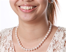 Pearl Necklace - Premium Quality White 9 mm
