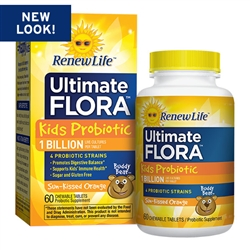 Ultimate Flora Kids Probiotic, 1 Billion, Sun-Kissed Orange (60 Chewable Tablets)
