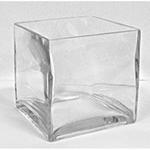 Glass Cube Vase, 6 x 6