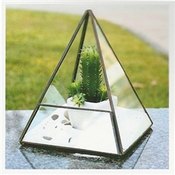 Geometric Glass Terrarium, Pyramid Shape