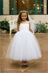 Perdita Tulle Girls  First Communion Dress - WHITE