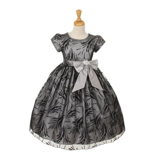 Silver Black dress for flower girls