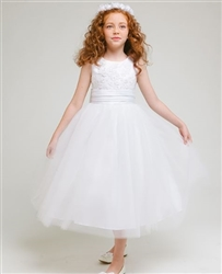 Charlotte Tulle Girl Dress - WHITE