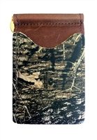 brown wallet with mossy oak camo pociets