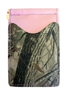 pink wallet with real tree hardwoods camo pockets
