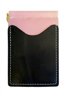pink wallet with black pockets
