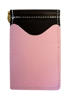 Black back saver wallet with pink pockets.
