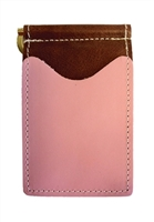 brown back saver wallet with pink pockets