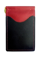 red wallet with black pockets