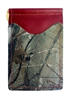 red wallet with real tree camo