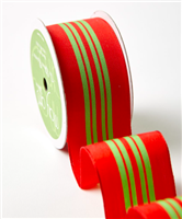 Ribbon - Red/Green Stripe Roll