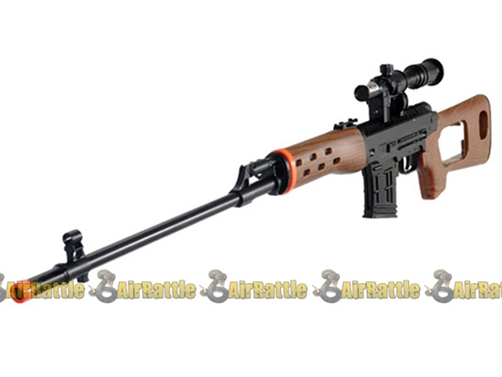 UKARMS Spring Dragunov SVD Airsoft Sniper Rifle w/ Laser and Flashlight ( Wood )