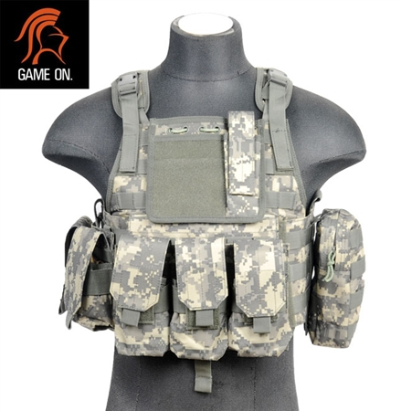 Lancer Tactical Molle Airsoft Tactical Assault Vest and Plate Carrier ( ACU )