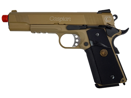 Full METAL TSD 1911 45 Caspian Gas Blowback Airsoft Pistol Rubberized Grip 2 MAGS (Desert Tan)