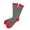 Sock 101 - IZE Red and Gray Athletic Long Sock