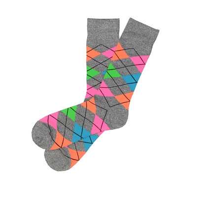 The School of Sock - The Atticus Gray, Pink, Orange, Green and Blue Loud Argyle Sock