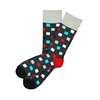 The School of Sock - The Charlie Charcoal, Red, Auqa Blue, Gray and White Checkered Sock