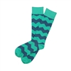 The School of Sock - The Dunk Teal and Blue Over The Calf Chevron Sock