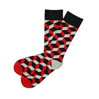 Sock 101 - The Justin Red, Black and Gray Over The Calf Geometric 3D Sock