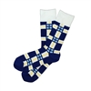 The School of Sock - The KC Cares Navy Blue, White and Yellow Plaid Charity Sock