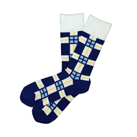 Sock 101 - The KC Cares Navy Blue, White and Yellow Plaid Charity Sock