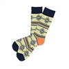 The School of Sock - The Leroy Yellow, Navy Blue and Orange Aztec Sock