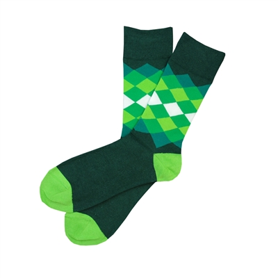 Sock 101 - The Norman Green, Hunter and Lime Diamond Sock