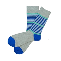 Sock 101 - The Parker Gray, Blue and Teal Striped Sock