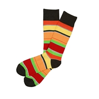 Sock 101 - The Ralph Red, Orange, Green and Brown Striped Sock