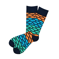 Sock 101 - The Richardson Navy, Orange, Teal and Blue Fish Patterned Sock (Design Contest Winner)