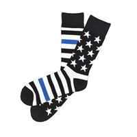 The School of Sock - The Roosevelt Black, White and Blue American Flag Blue Line Sock