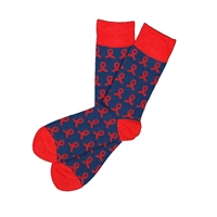 Sock 101 - The SAVE, Inc. Navy and Red Ribbon Charity Sock