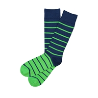 The School of Sock - The Sean Navy and Green Stripe Sock