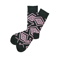 Sock 101 - The Wallace Charcoal and Pink Aztec Sock