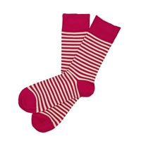 Sock 101 - The Walton Fuchsia and Cream Striped Sock