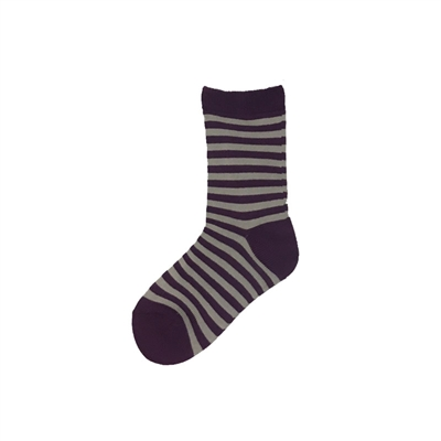 Sock 101 - The Willie Purple and Gray Striped Kids Sock