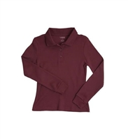 French Toast Girls Long Sleeve Polo W/ Picot Collar