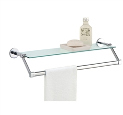 Glass Shelf with Chrome Towel Bar for bathroom and linen storage