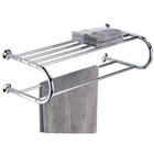Chrome Metal Shelf w/ Towel Rack and wire shelf