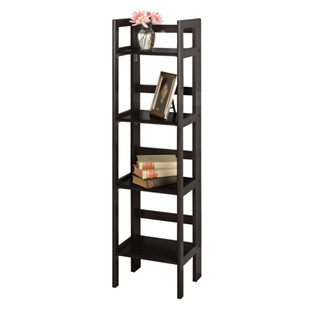 Tall folding bookcase with four shelves in black, natural and walnut