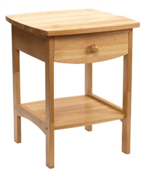 Curved End Table with One Drawer