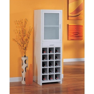 15 bottle wine cabinet with drawer in white