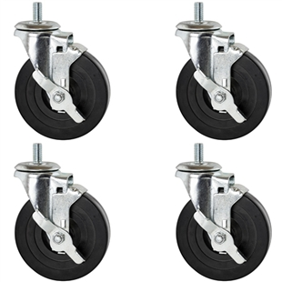 Rubber casters with threads and brake